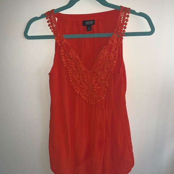a.n.a Tops - 3/ $15 Bright red a.n.a. Lace top